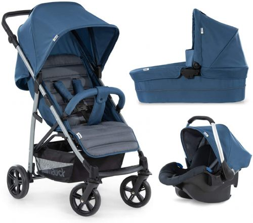 New Hauck Rapid 4 plus trio set carrycot carseat in denim grey upto 25 KG+Free Isofix base